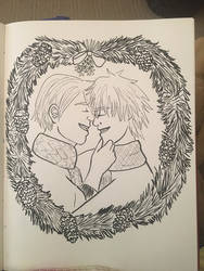 Inked version Holiday Viktor and Yuri by YumiMarie