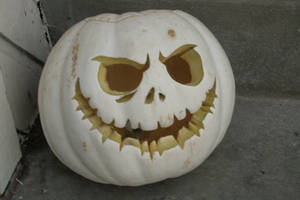 Jack Skellington White Pumpkin by childofsatan2002