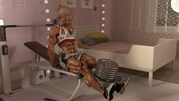 Kella trains in her room Pt.2
