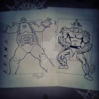 Krang and Shredder (inked over pencil)