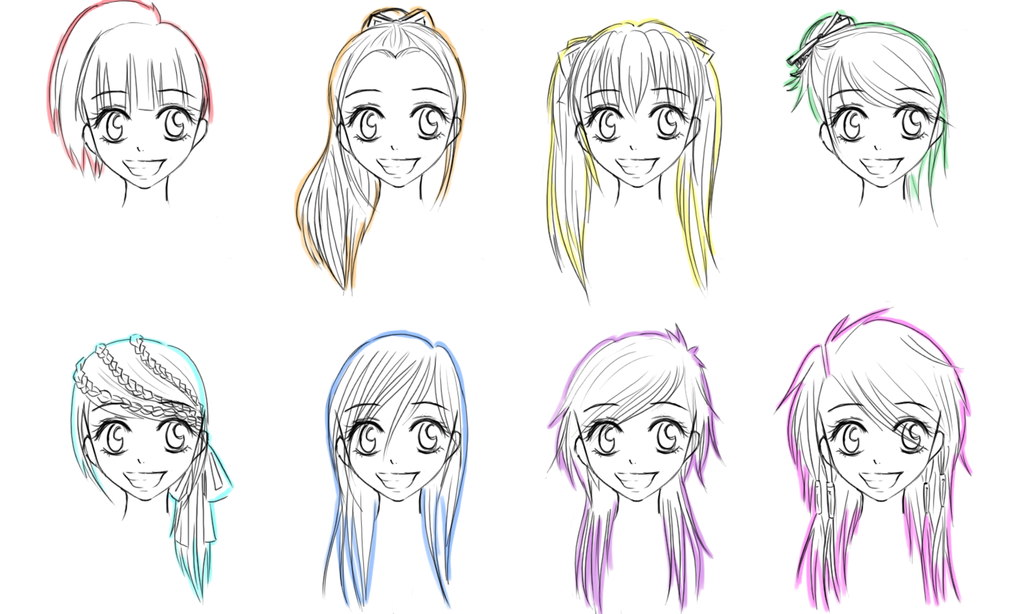 How Draw Manga GirlAnime Girl Hairstyles Long