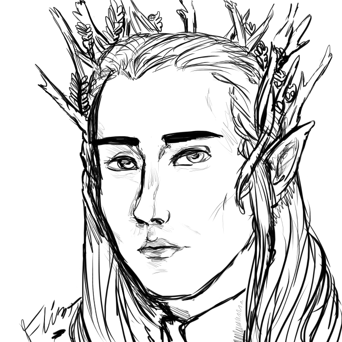 Thranduil Sketch by FlintTheWizard