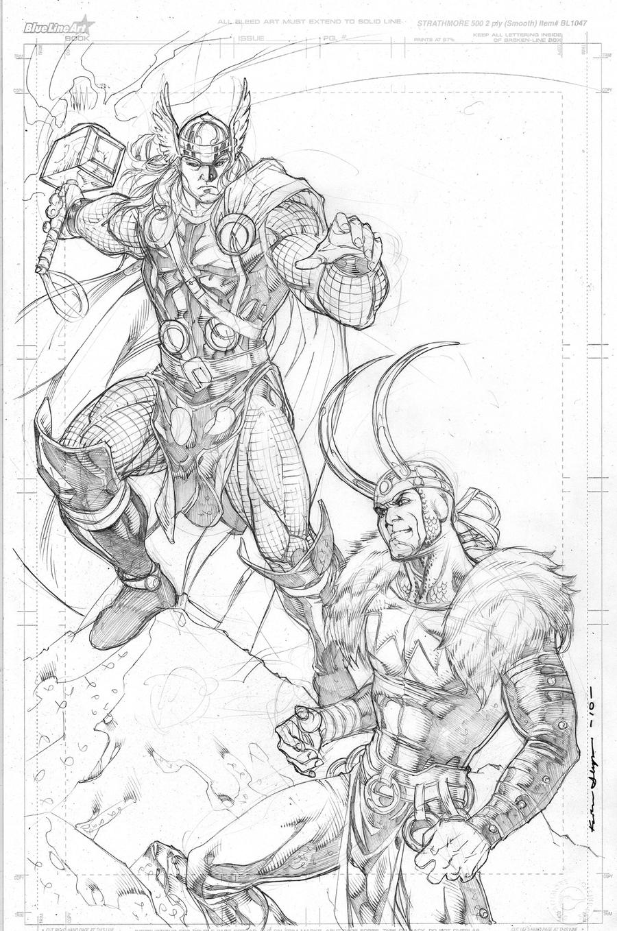 Thor loki commish by kevin sharpe on deviantart for Marvel thor coloring pages