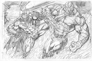 Batman vs Croc commish by Kevin-Sharpe