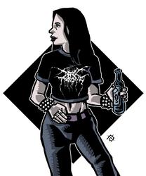 Black Metal Metalhead girl by andycorsant
