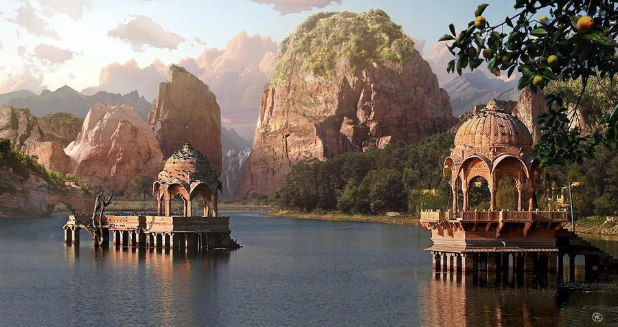 Water Temples - Matte Painting by Yaroslav