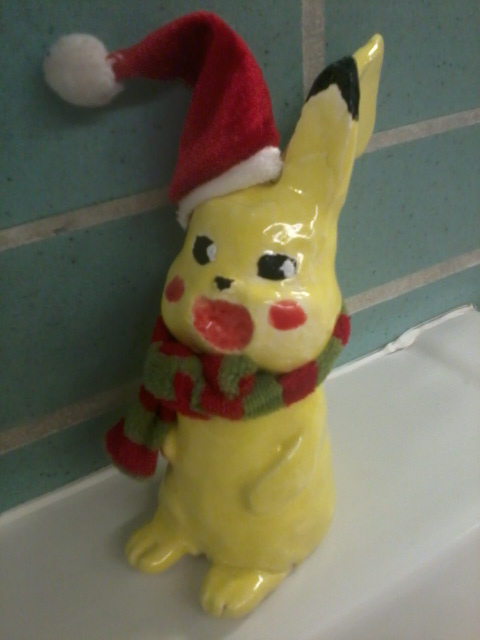 Christmas Pikachu by Useless--Fox