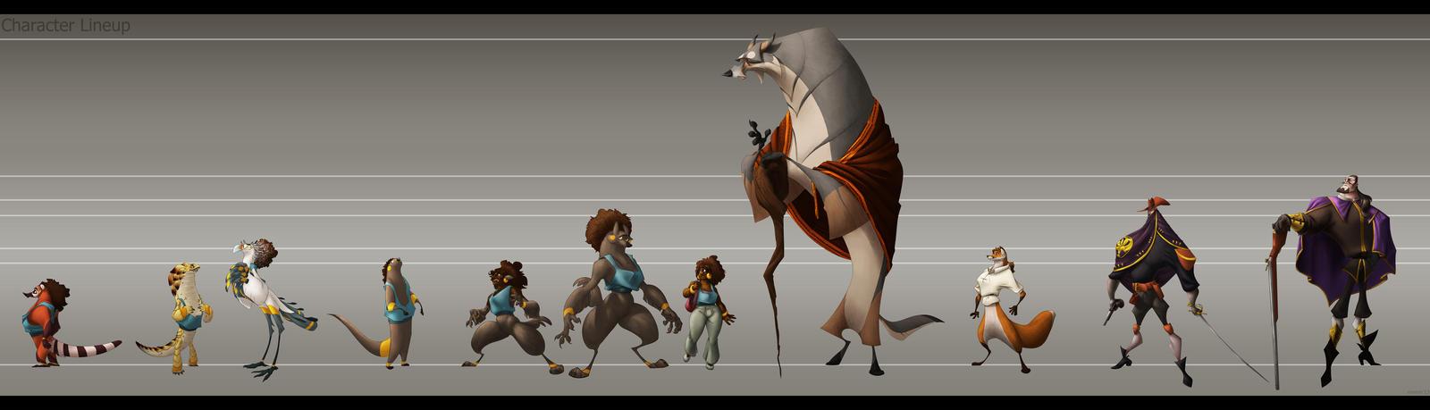 Character Design Lineup : Character design lineup by meeoh on deviantart