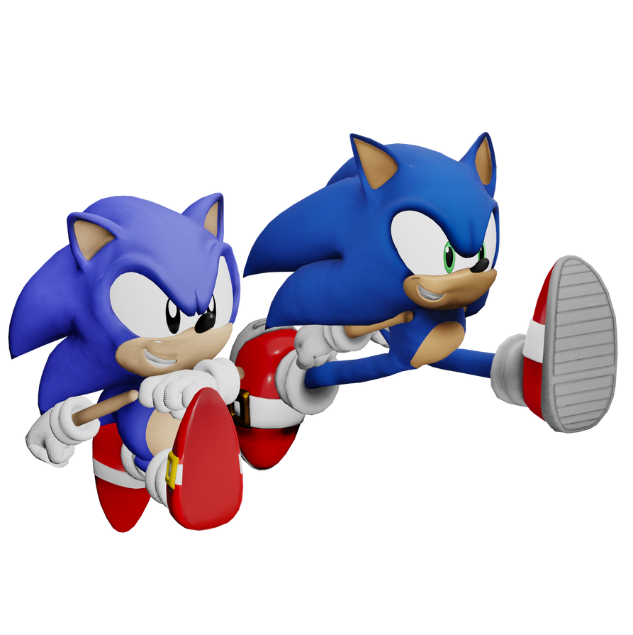 Modern and Classic Sonic (Blender Eevee test) by Spinosaurusking875