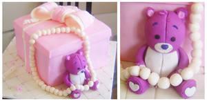 Pink gift box cake