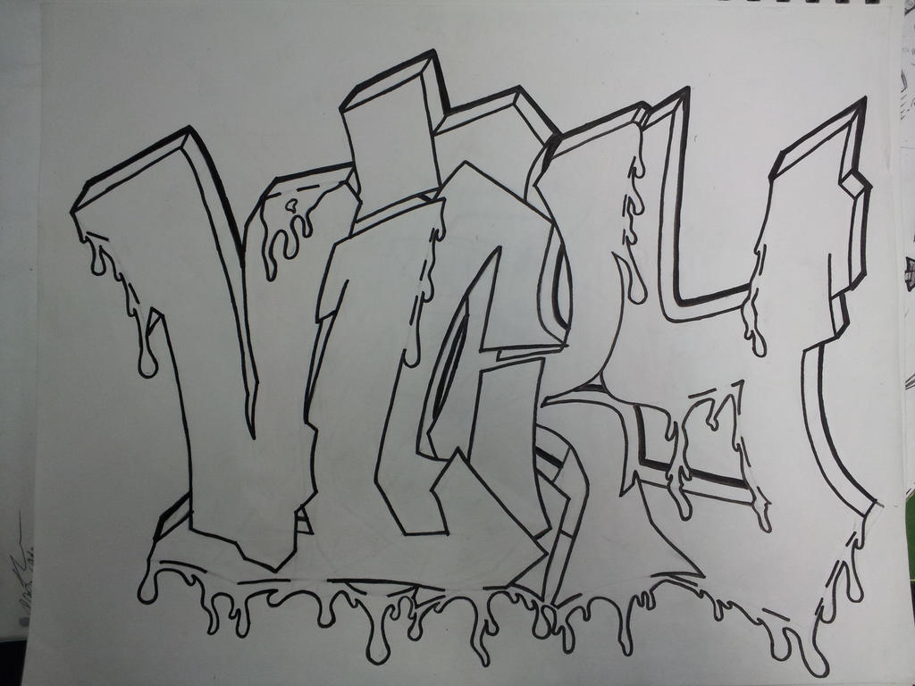 Graffiti Name (Vicky) outline by Deathbutterfly90 on deviantART