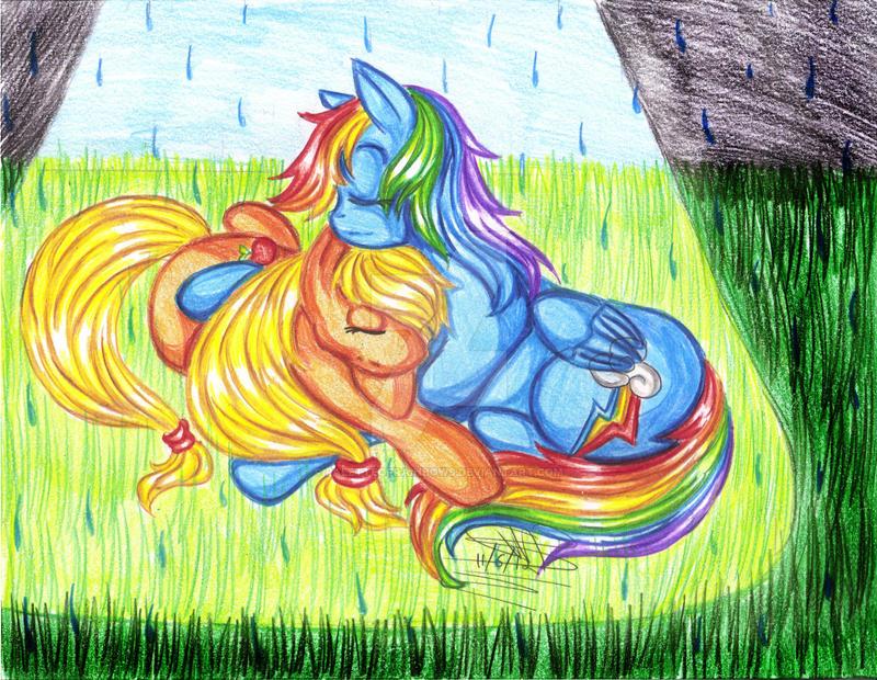Cuddling in the rain? by PaletteOfRainbows