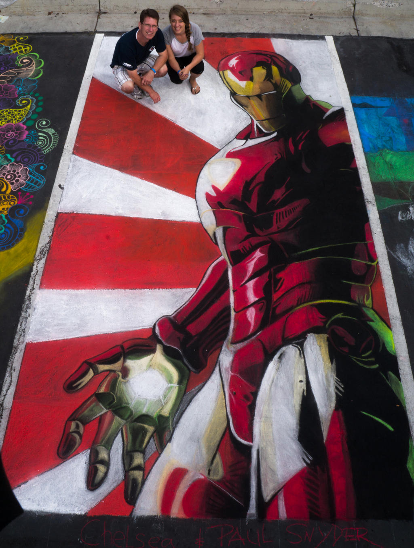 Chalk Art - Iron Man by chelsaroo