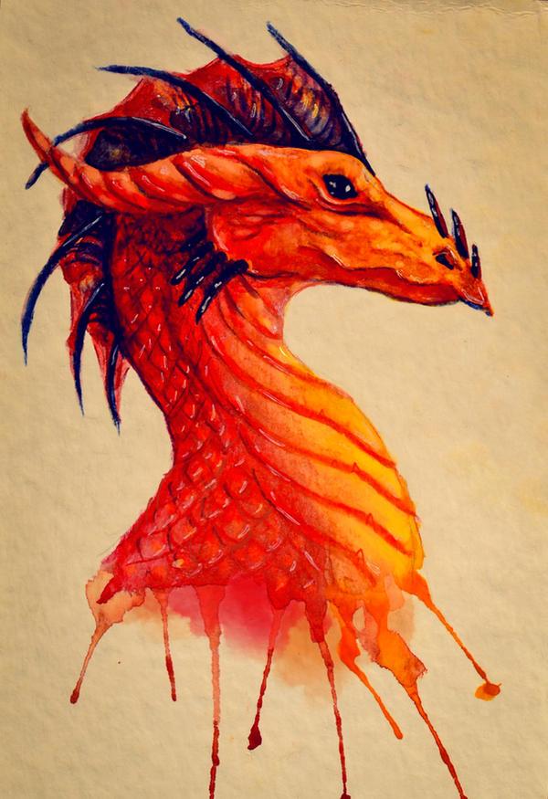 Watercolor Dragon by Fyrrea