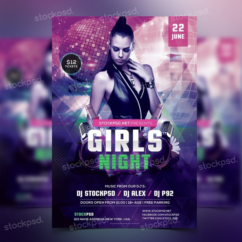 girls night party free psd flyer template by freebiedesign
