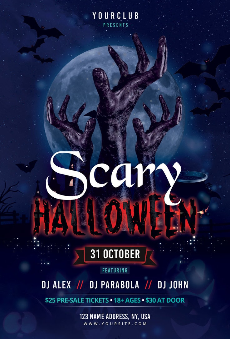 scary halloween free psd photoshop flyer by freebiedesign