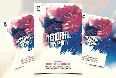 Memorial Day Party Free PSD Flyer Template by Freebiedesign