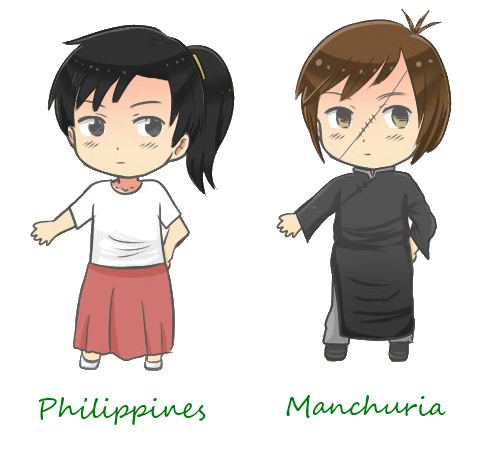 hetalia OCs: Philippines and Manchuria by kyuzoaoi