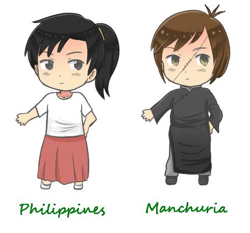 hetalia OCs: Philippines and Manchuria by kyuzoaoi