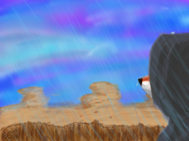 Rainy desert - Speedpainting by rodrev
