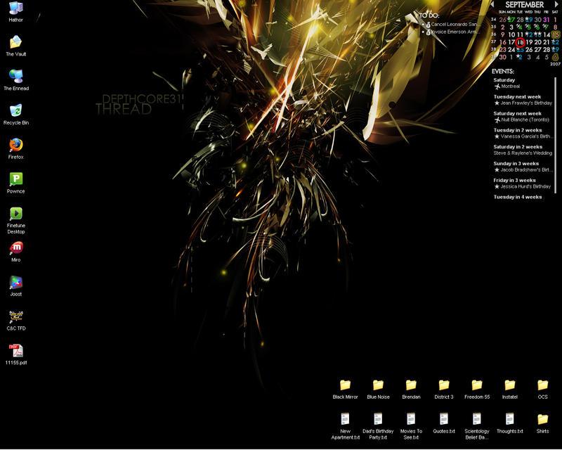 Desktop as of Sept 18, 2007 by orpheum