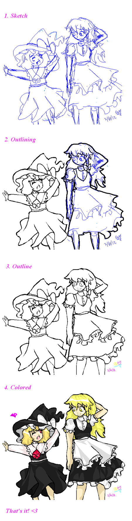 Rumia and Marisa: Steps on Drawing in MS Paint by Artizluv