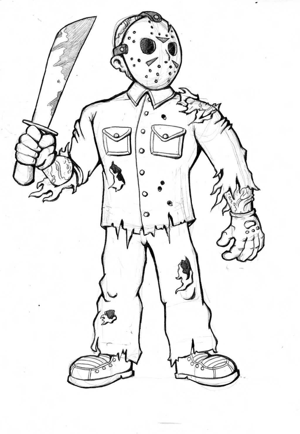 Jason Voorhees Drawing By Richiecooksjr On Deviantart Coloring Pages Pesquisa Google