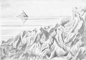 Mont Saint Michel pencil drawing by Hupie