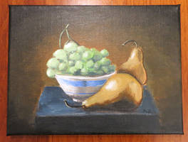 Still life grape bowl and pears by Hupie