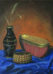 Still Life Vase, Pot and Bracelet by Hupie
