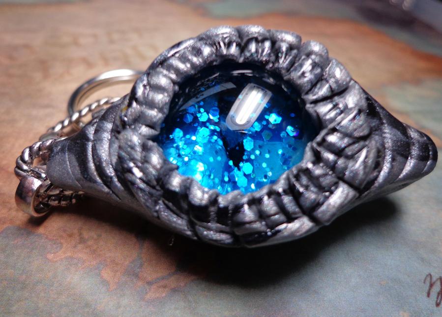 Silver and Black Dragon Eye Keychain by RaPVVNzel