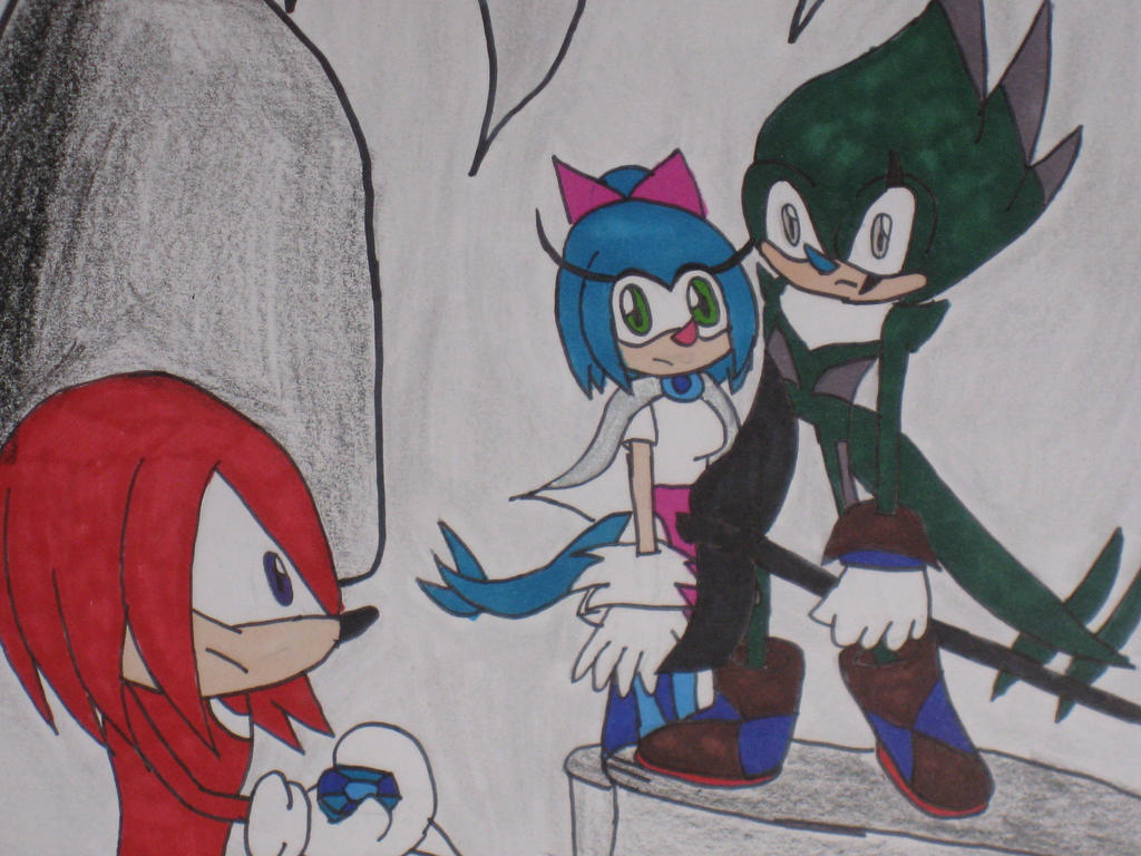Knuckles found the water emerald by cat55