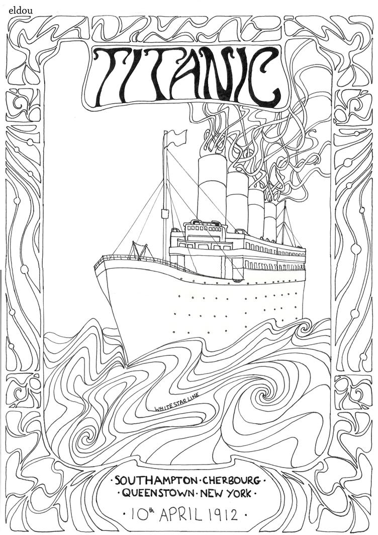 Line Art Posters : Titanic poster line drawing by eldou on deviantart