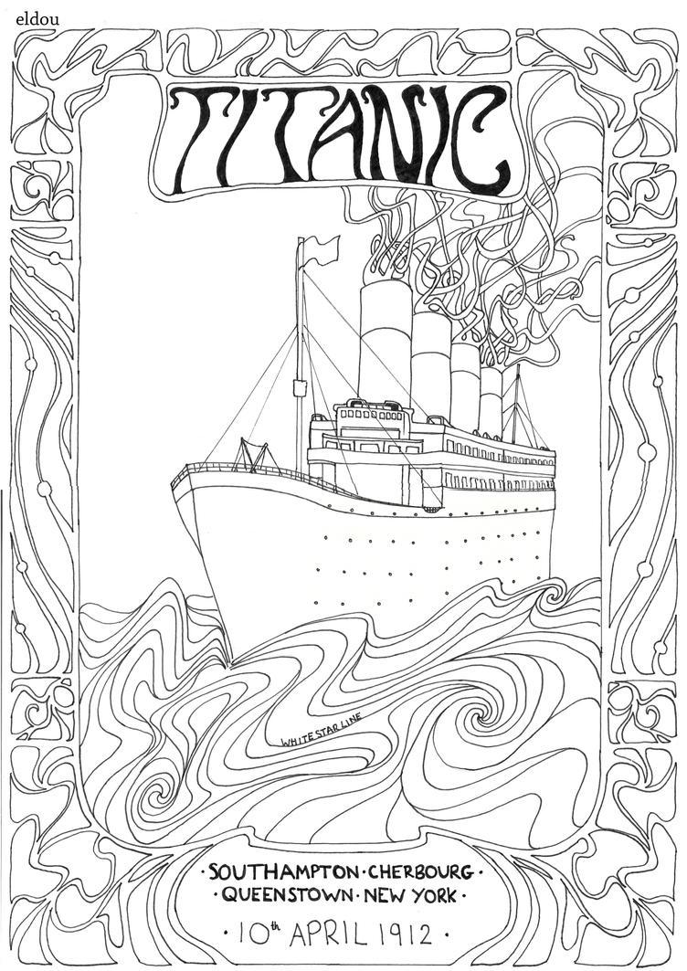 Line Art Poster : Titanic poster line drawing by eldou on deviantart