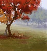 Red tree by Zoriy