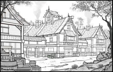 Village drawing by Zoriy
