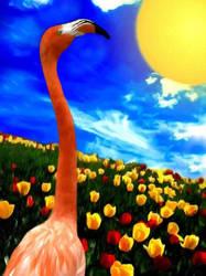 Flamingo in a field of Tulips by allison731