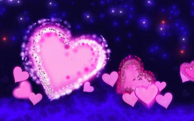 Glowing Hearts Wallpaper by allison731