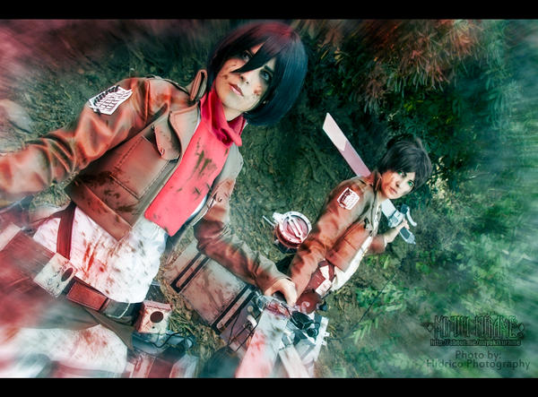 Mikasa and Eren - Shingeki No Kyojin by LauraNikoPhantomhive