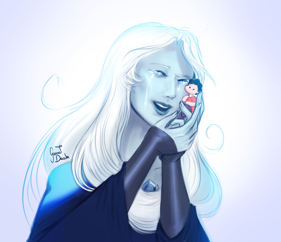 the last episodes of Steven Universe oh my gosh I planned on joining the hype of White Diamond fanart but ?? I couldn't ignore this precious scene of Blue Diamond hugging Steven like that.
