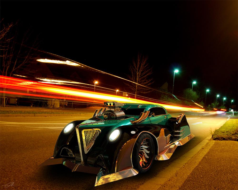 Street in the night by LadyDeuce