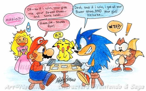 Mario VS Sonic by NatSilva