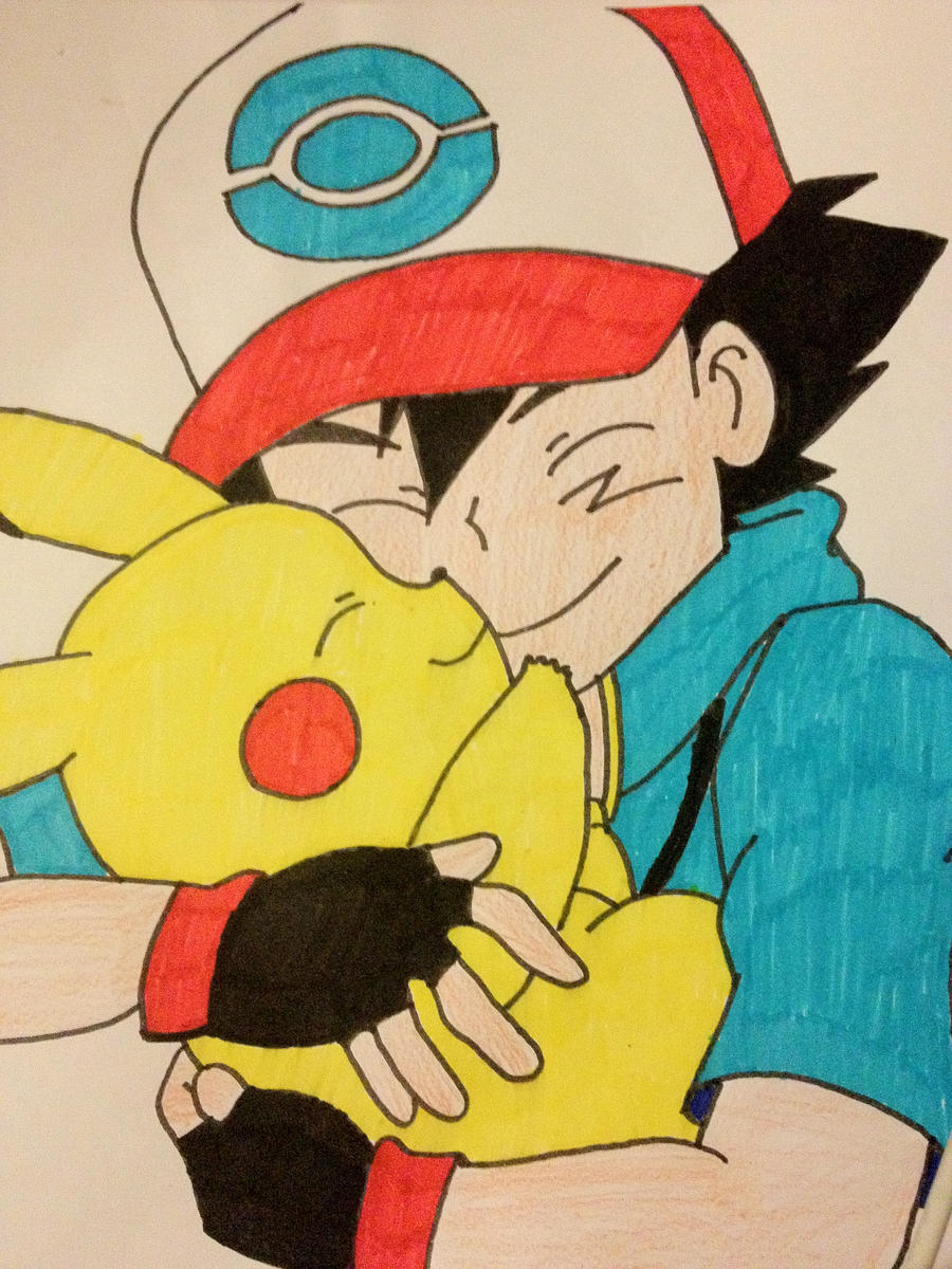 how to draw ash and pikachu