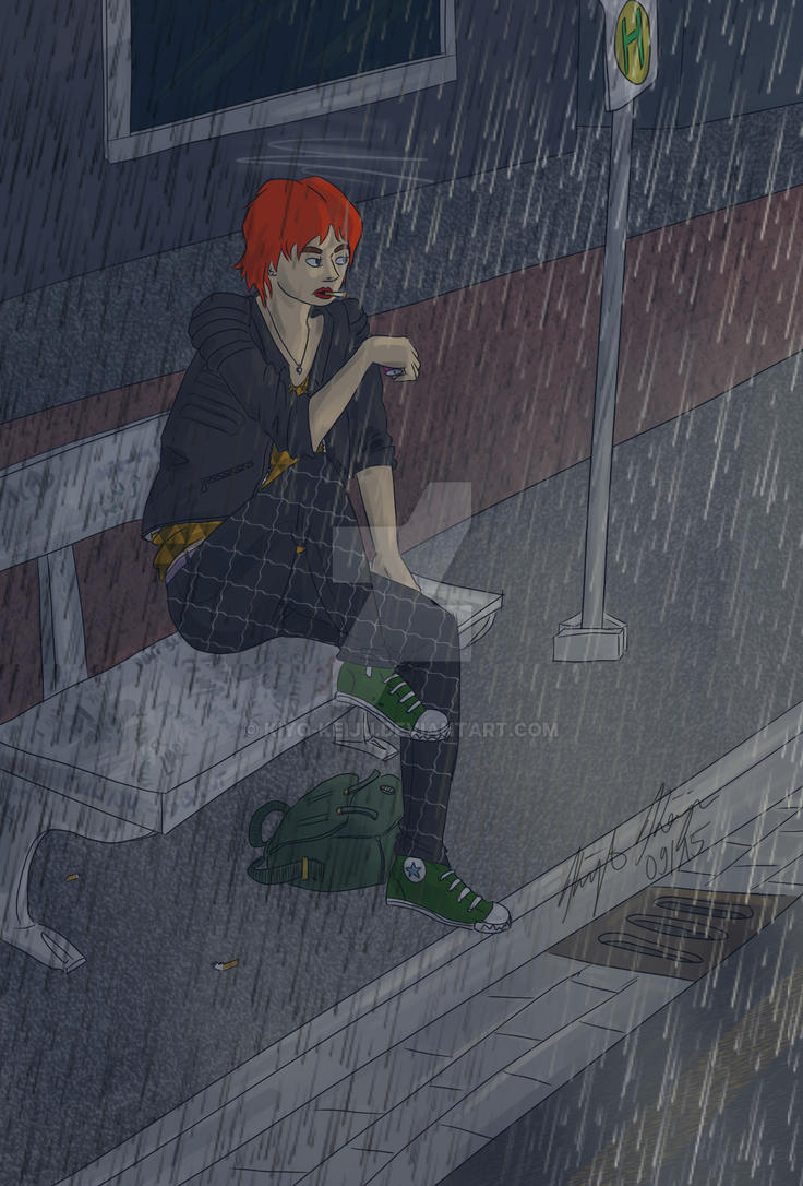 Waiting for the bus in the rain by Kiyo-Keiju