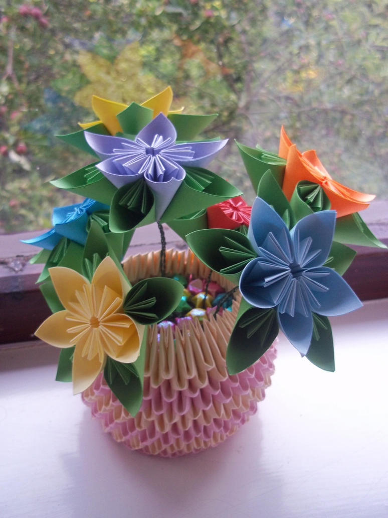 Kusudama flower pot by ilyere on deviantart for Art and craft pot decoration