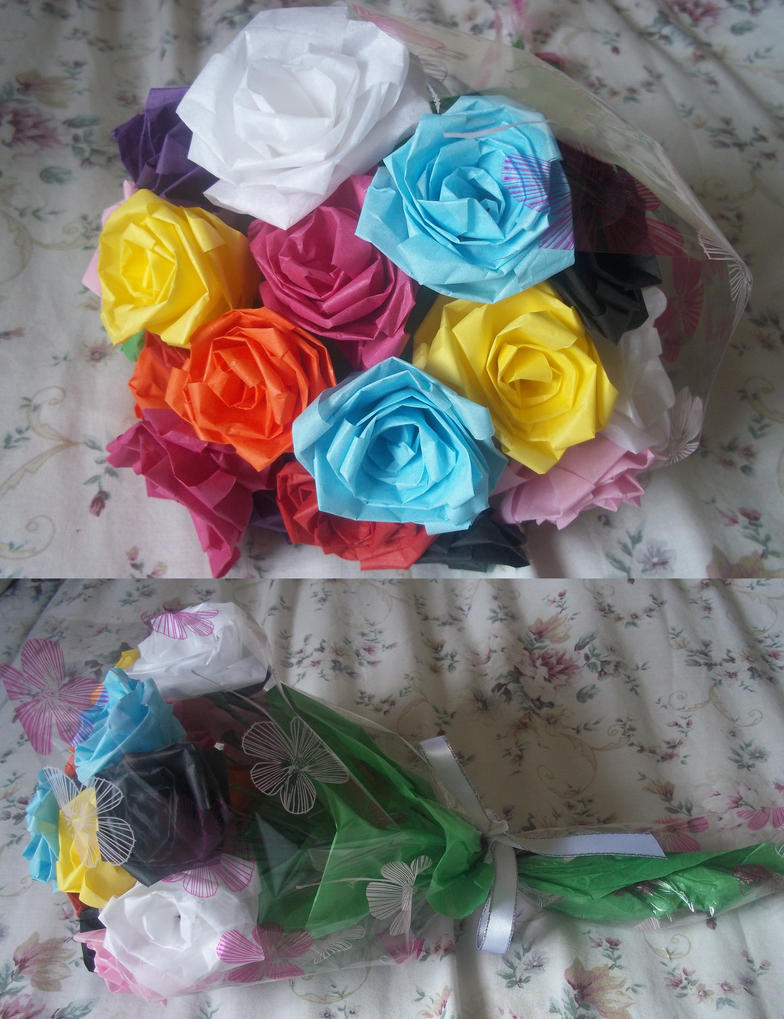 Tissue paper rose bouquet by ilyere on deviantart tissue paper rose bouquet by ilyere izmirmasajfo