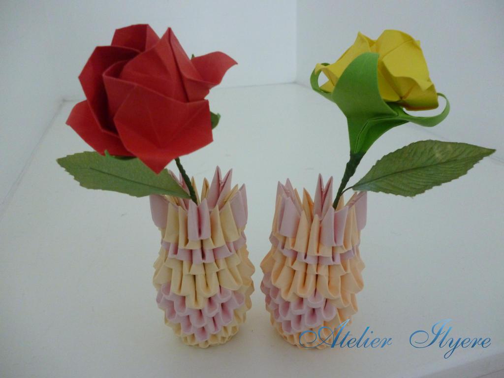 Origami Rose And Vase By Ilyere On Deviantart