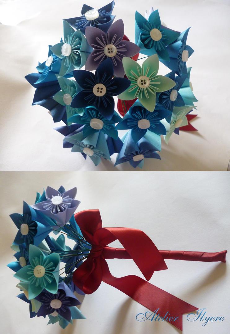 Blue Kusudama Flower Bouquet By Ilyere On Deviantart