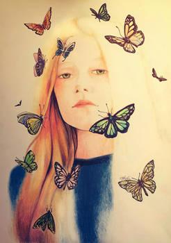 Girl in butterflies