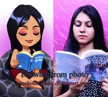 Dessin from photos Saumiya - Reading by Mokolat-Illustr